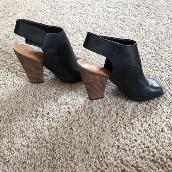 Black Peep Toe Booties With Wooden Heel